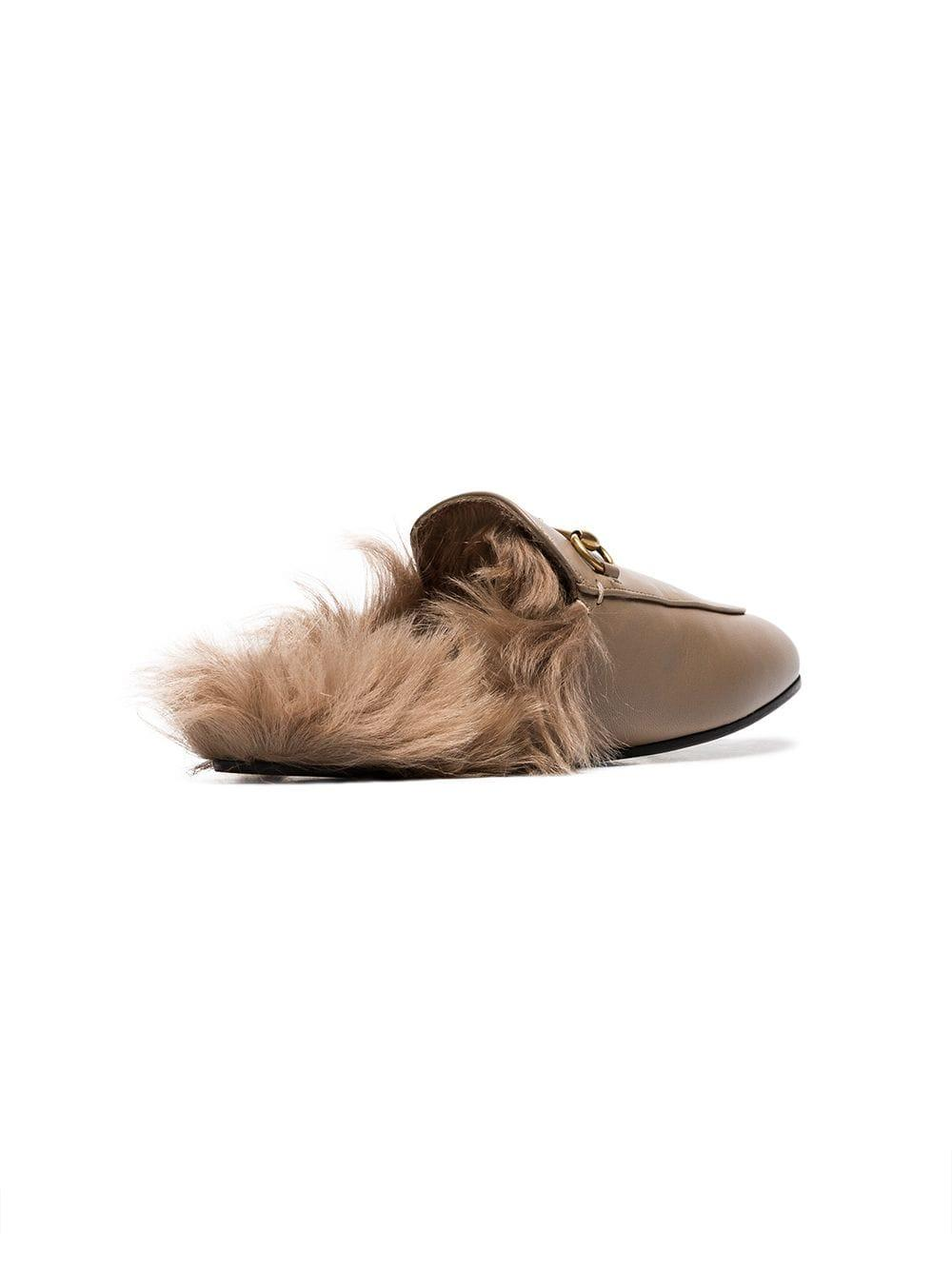 060393fd2147 Gucci - Brown Beige Princetown Flat Leather And Shearling Slippers - Lyst.  View fullscreen