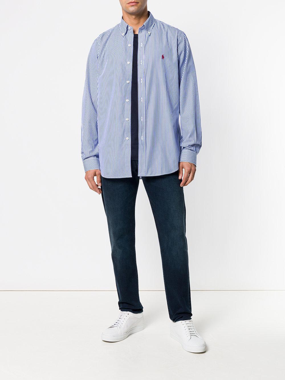 4e645836b3 Lyst - Polo Ralph Lauren Button-down Striped Shirt in Blue for Men - Save  15%