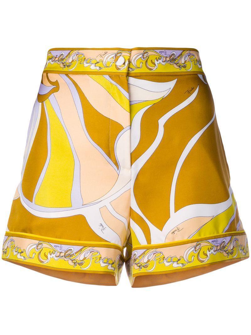 f21227bbd4b5 Lyst - Emilio Pucci Printed Shorts in Yellow