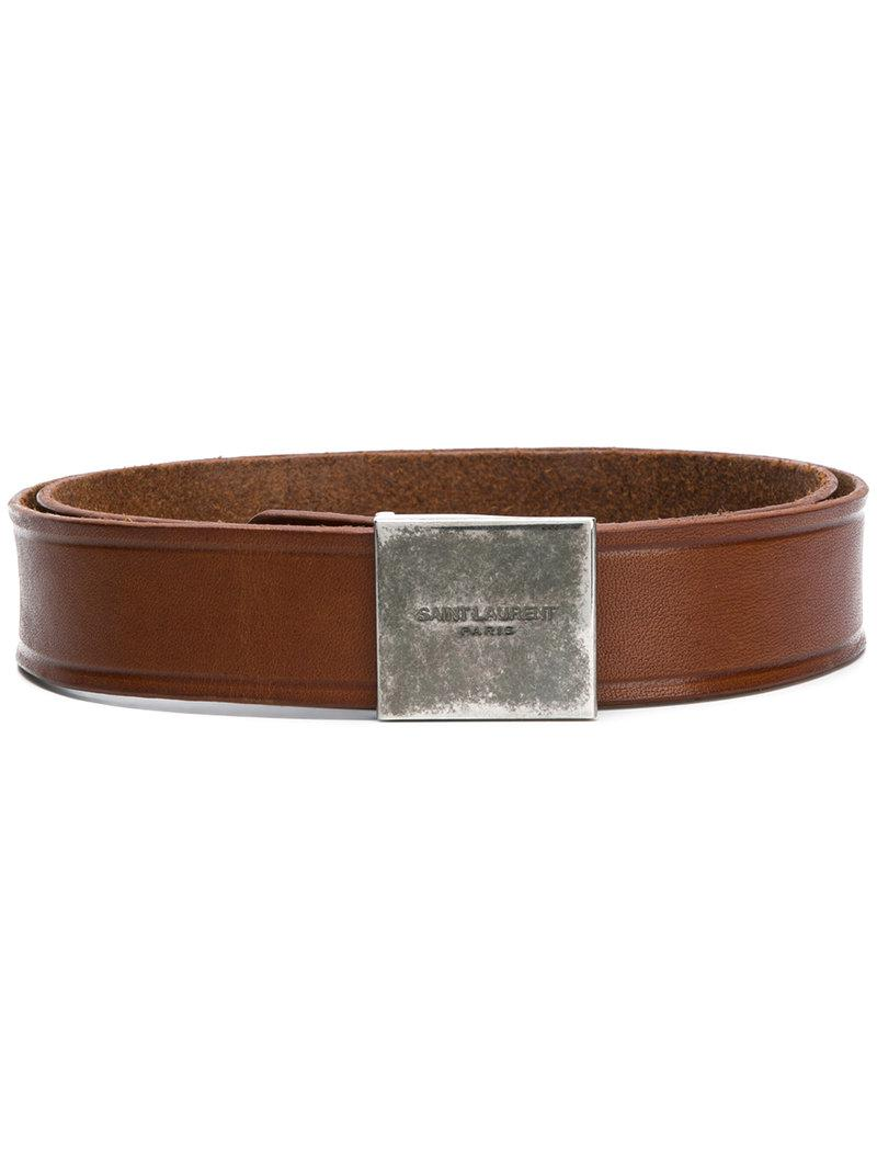 porthole buckle military belt - Brown Saint Laurent