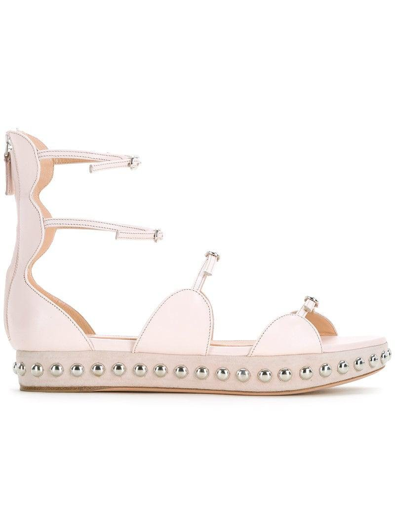 ea062f2b3e44 Lyst - Giambattista Valli Studded Strappy Ballerina Shoes in Pink