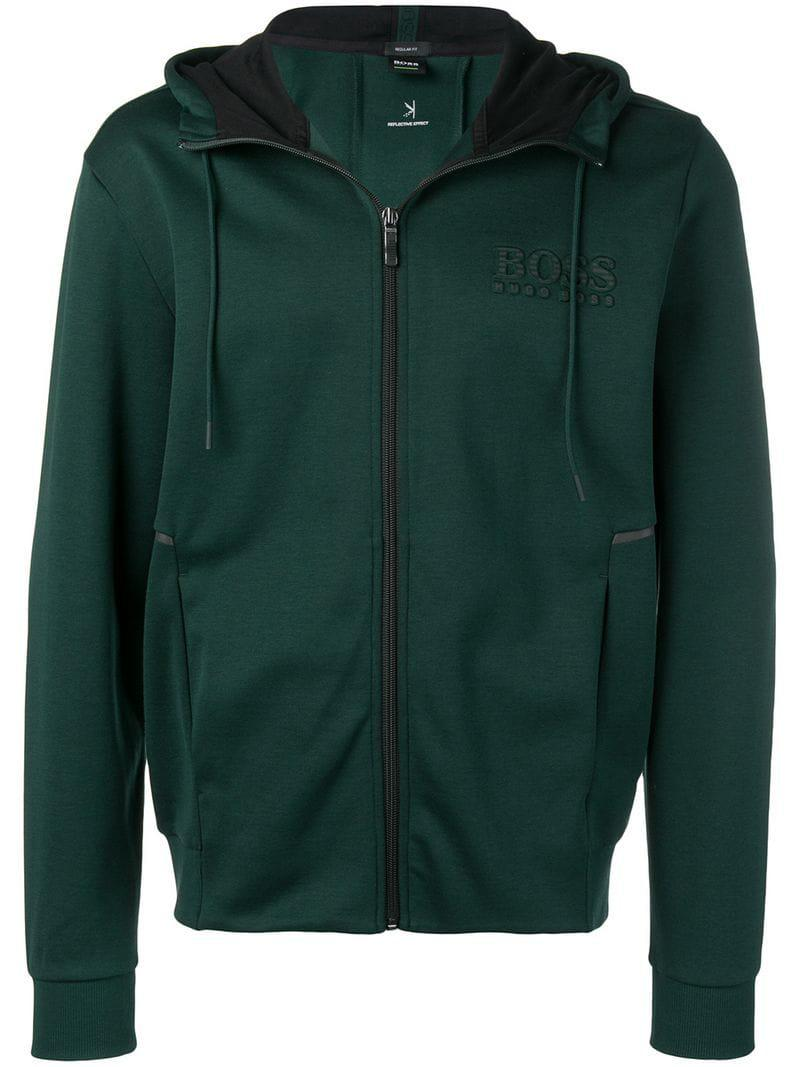 fc860956a057e BOSS Saggy Full Zip Hooded Jacket in Green for Men - Lyst