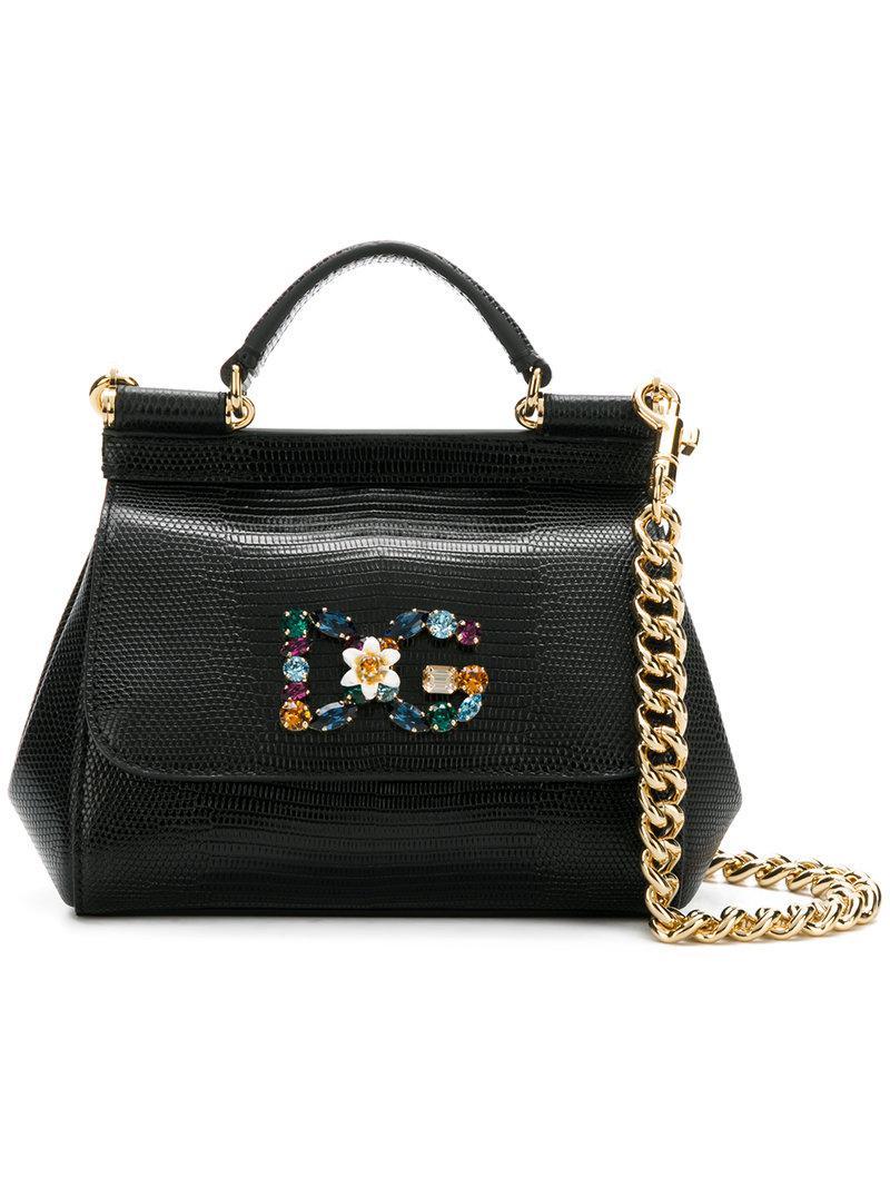 0b3fad6e77 Dolce   Gabbana Mini Sicily Bag in Black - Lyst