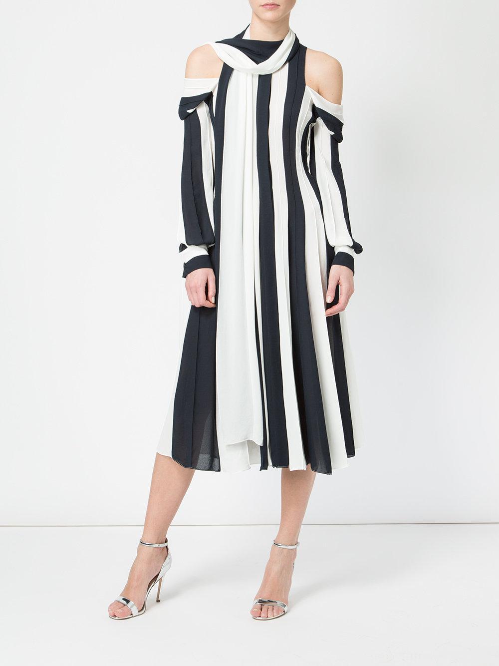 cut out shoulders striped dress - Black Monse iPZPZW