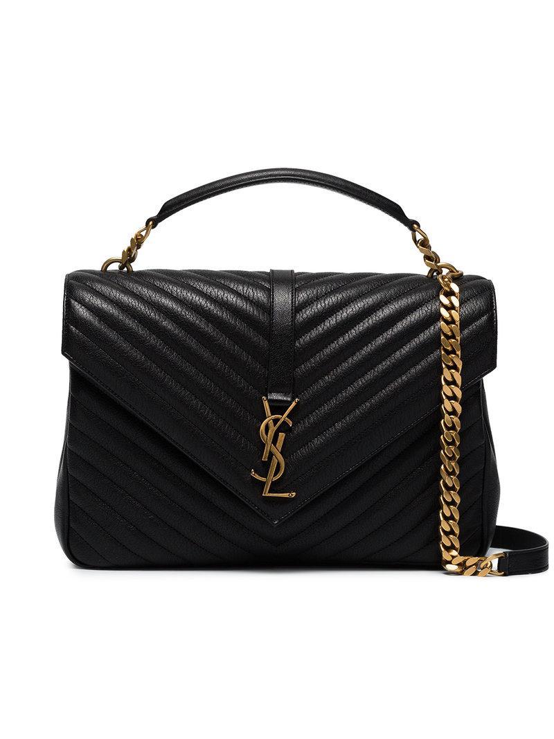 ca38ccc52bce Lyst - Saint Laurent Collège Quilted Leather Shoulder Bag in Black ...