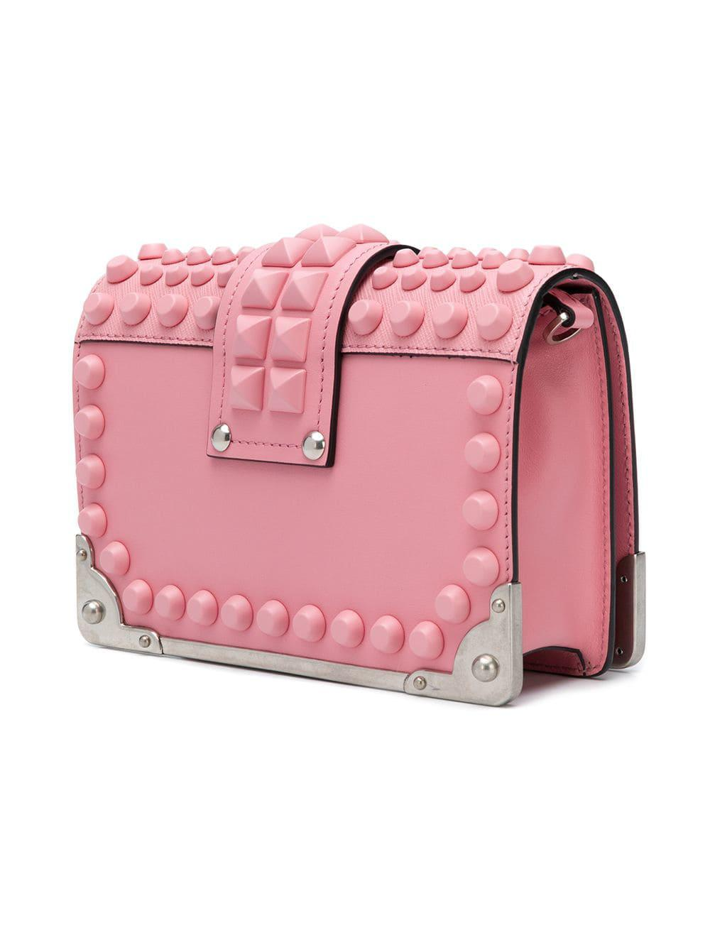 e353706d4cfc ... leather shoulder bag in pink 46e58 ec3a8; shop prada pink studded  saffiano cahier bag lyst. view fullscreen 7c194 60c4d