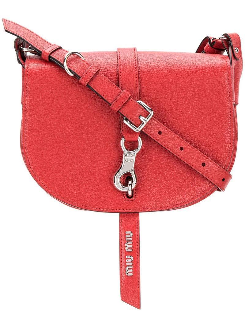 fada4a881656 Miu Miu Saddle Bag in Red - Lyst