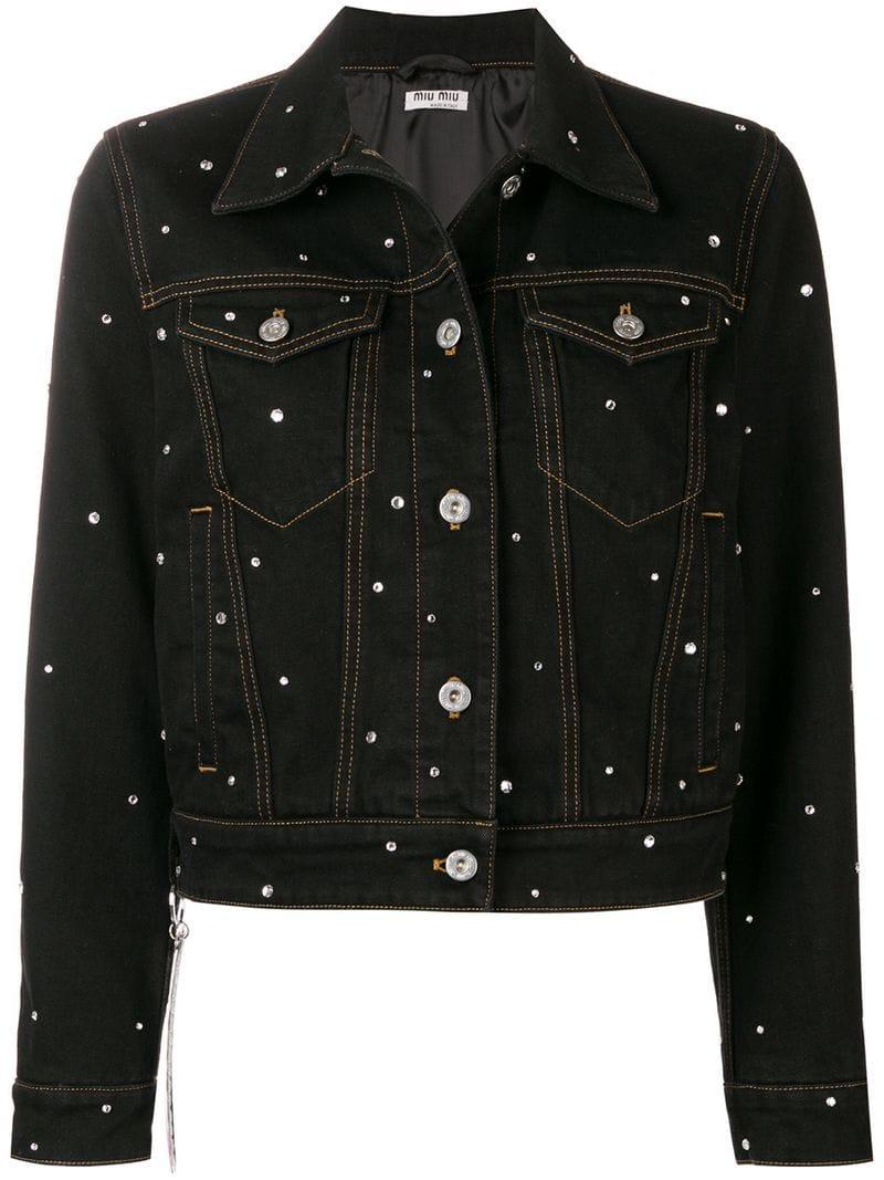 630f4ad55ab6 Lyst - Miu Miu Crystal Embellished Denim Ajcket in Black