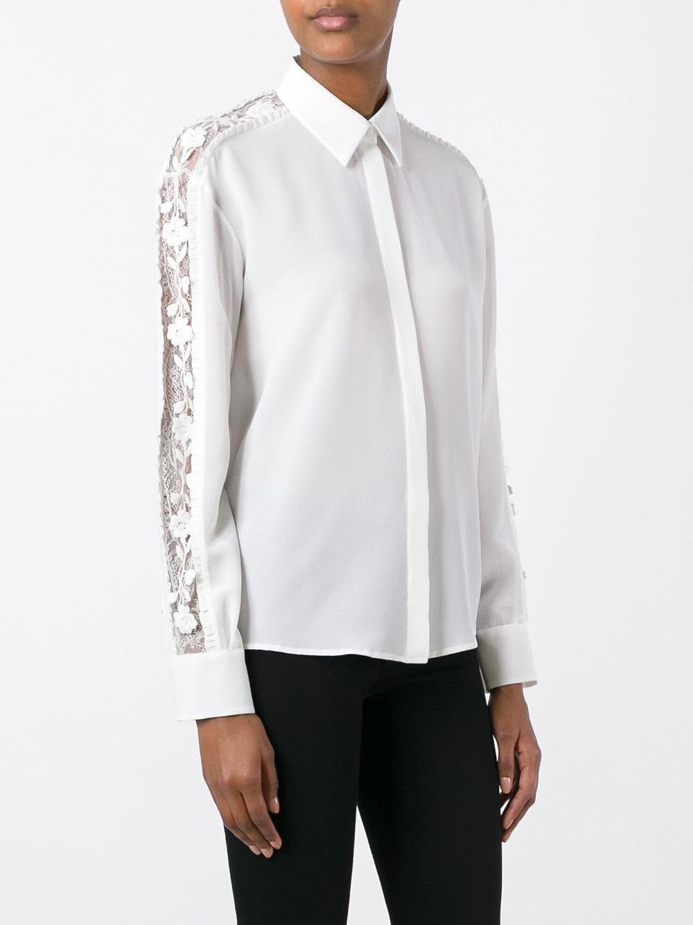sheer sleeve detail shirt - White Rochas Cheap Prices Reliable Buy Cheap Outlet Locations Choice Online Sale Outlet Store Cheap Sale Low Shipping Fee ANOFVH
