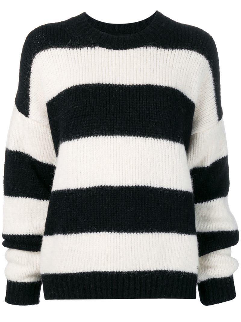Lyst - Dsquared² Oversized Striped Sweater in Black 1b627af31