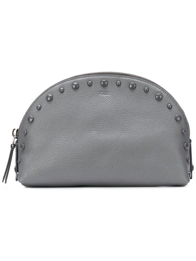 d8ed00c7599a Tod S Studded Makeup Bag in Gray - Lyst