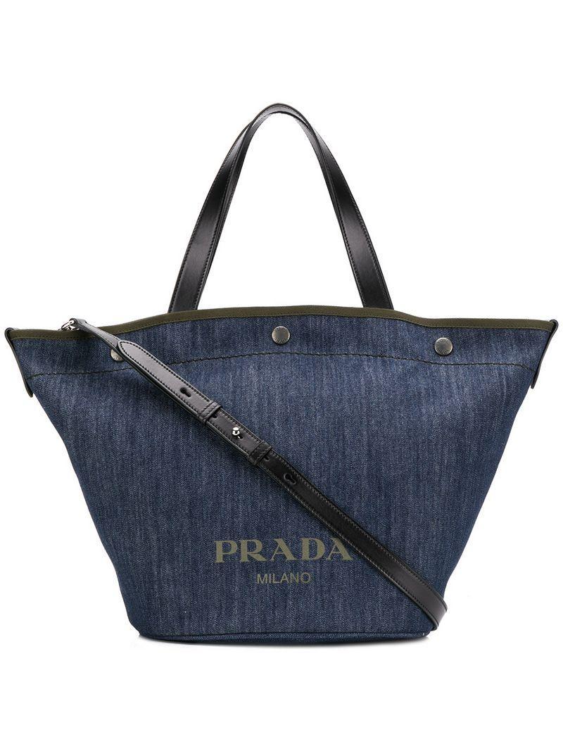 Prada - Blue Denim Shopping Tote - Lyst. View fullscreen 18aa0388b9523
