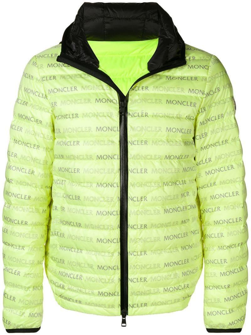 ad42a29494c8 Moncler Logo Print Padded Jacket in Yellow for Men - Save 1% - Lyst