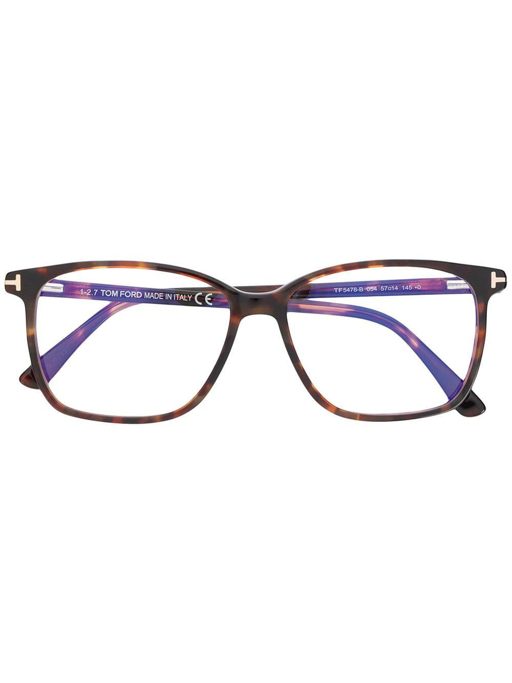 bd2e2a6eca48 Tom Ford Square Shaped Glasses in Brown for Men - Lyst