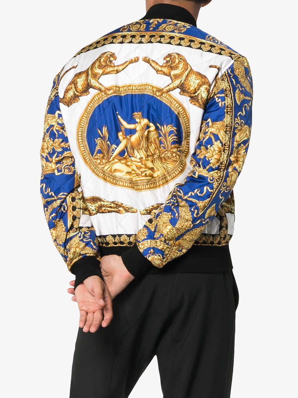 Homme Homme Imprimé À Versace Versace Versace Bleu Baroque Pour Veste  Coloris Bomber Lyst En wSCqR0fU 28b02d44901