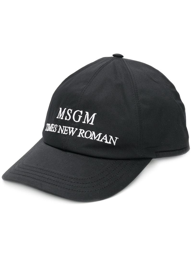 Lyst - MSGM Times New Roman Baseball Cap in Black for Men 37c3a7d62e9a