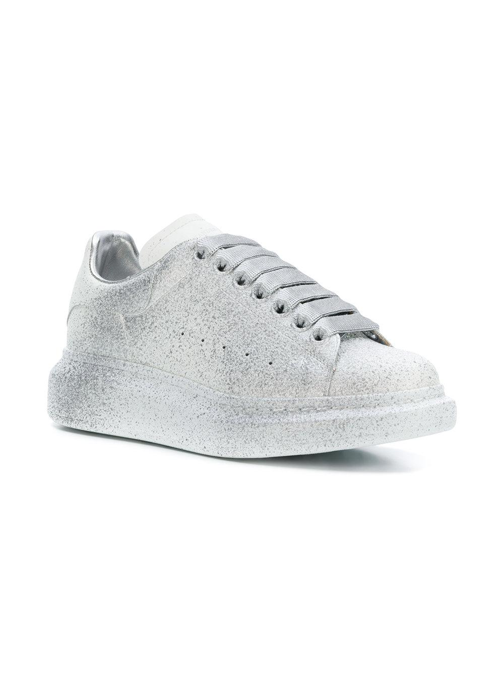 47cf155af215 Lyst - Alexander McQueen Glitter Lace-up Sneakers in Gray