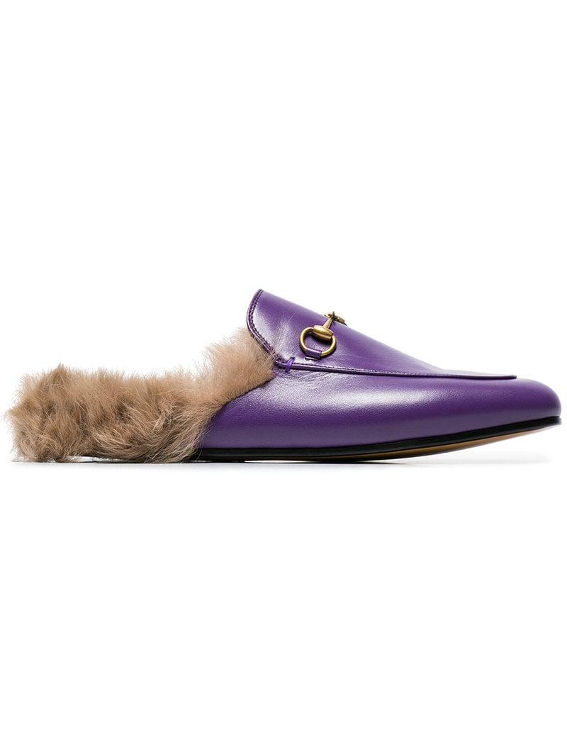 8ead046c093 Gucci Purple Princetown Fur Lined Leather Mules in Pink - Lyst