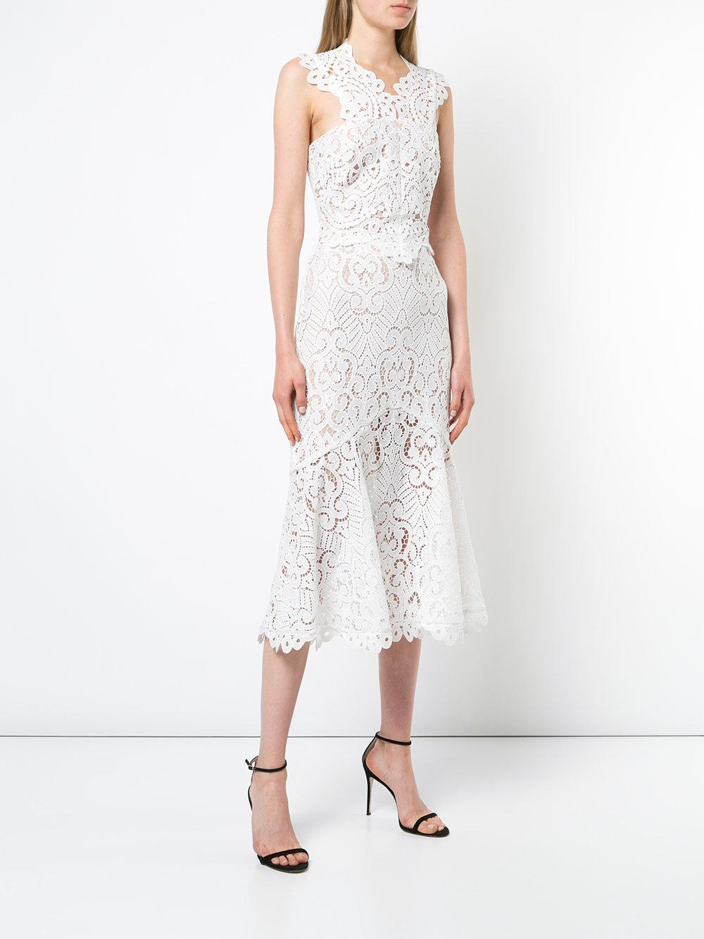 Hot Sale Cheap Sale Fashion Style broderie anglaise flared dress - White Nicole Miller Pick A Best For Sale 9eBZ9zjB9