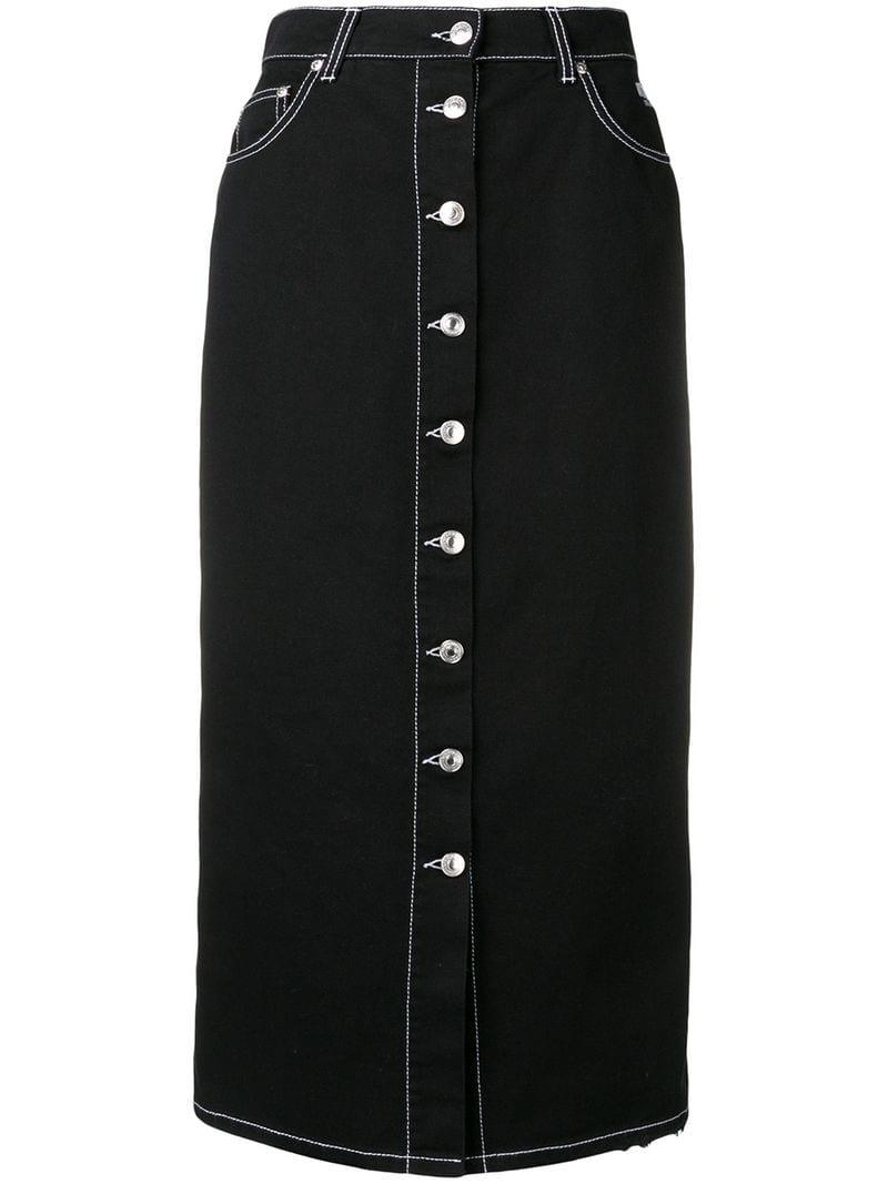 67b198051934 Lyst - MSGM Fitted Button Skirt in Black