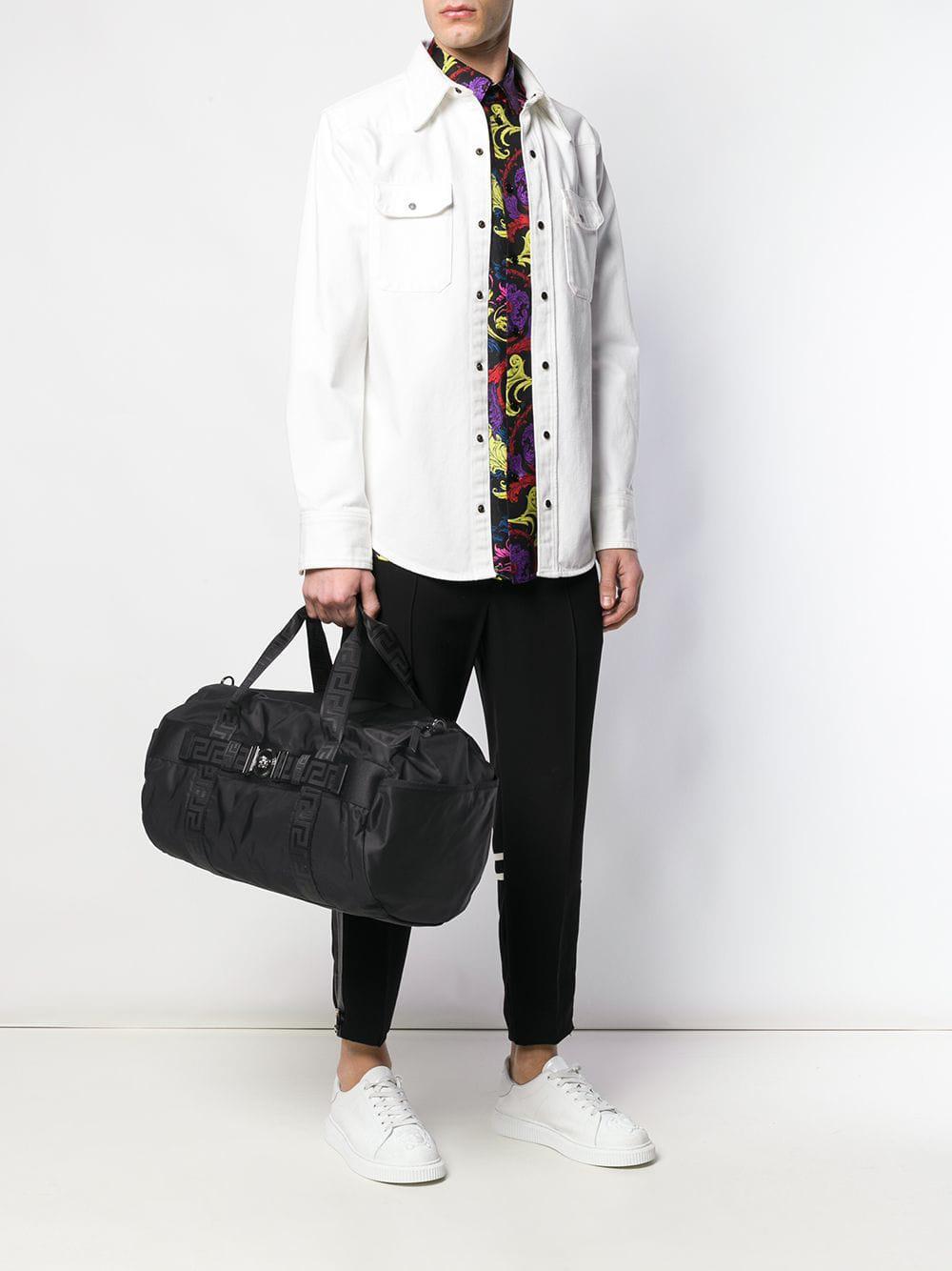 edea97f0c782 Versace - Black Greca Ribbon Weekend Bag for Men - Lyst. View fullscreen