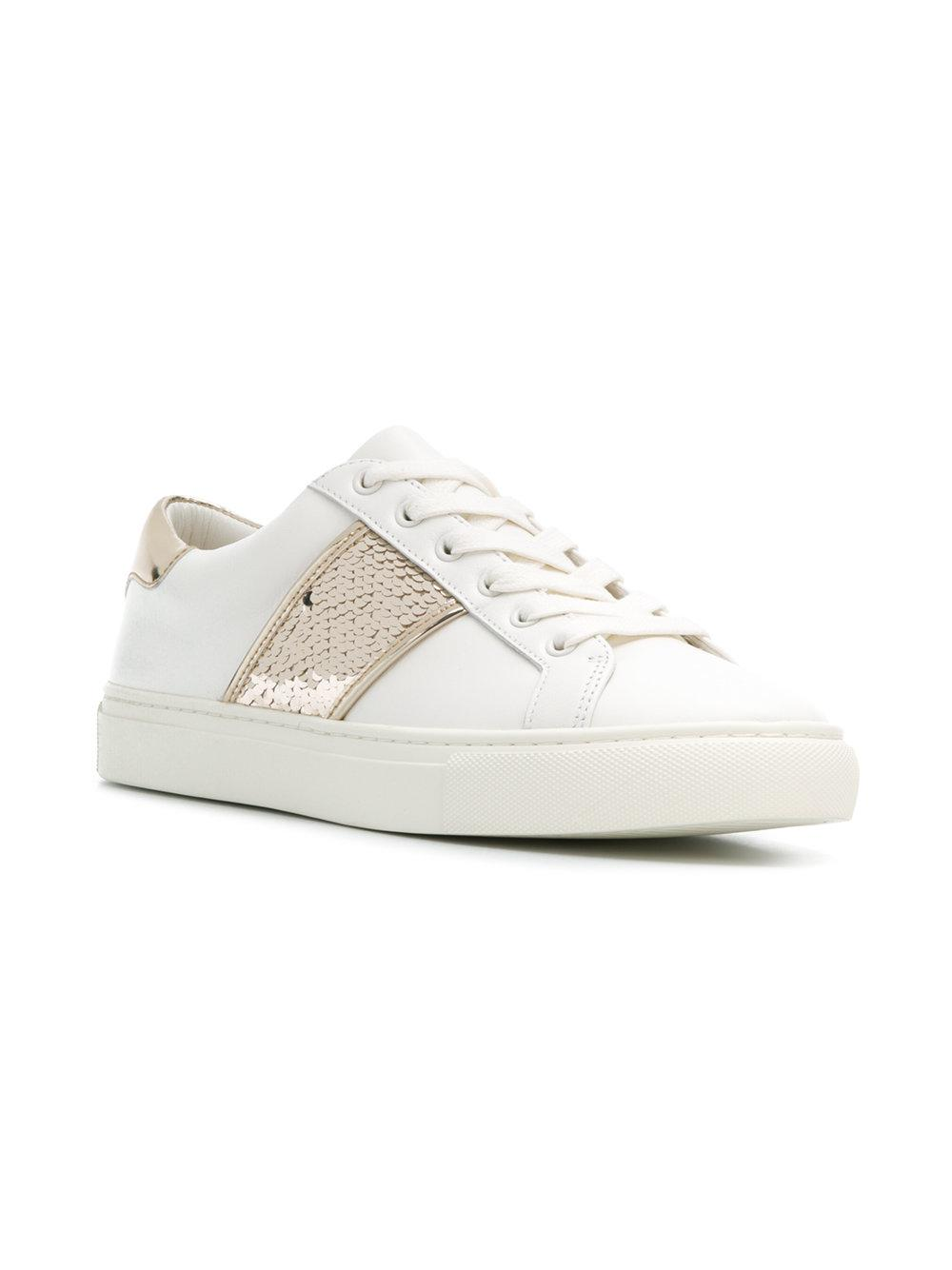 6477c4e909fa Lyst - Tory Burch Carter Sequin Sneakers in White