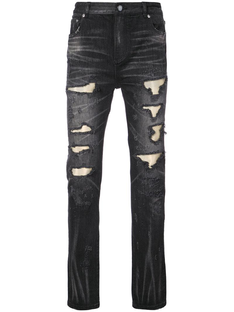555588302 Lyst - God's Masterful Children Ripped Fade Denim Jeans in Black for Men