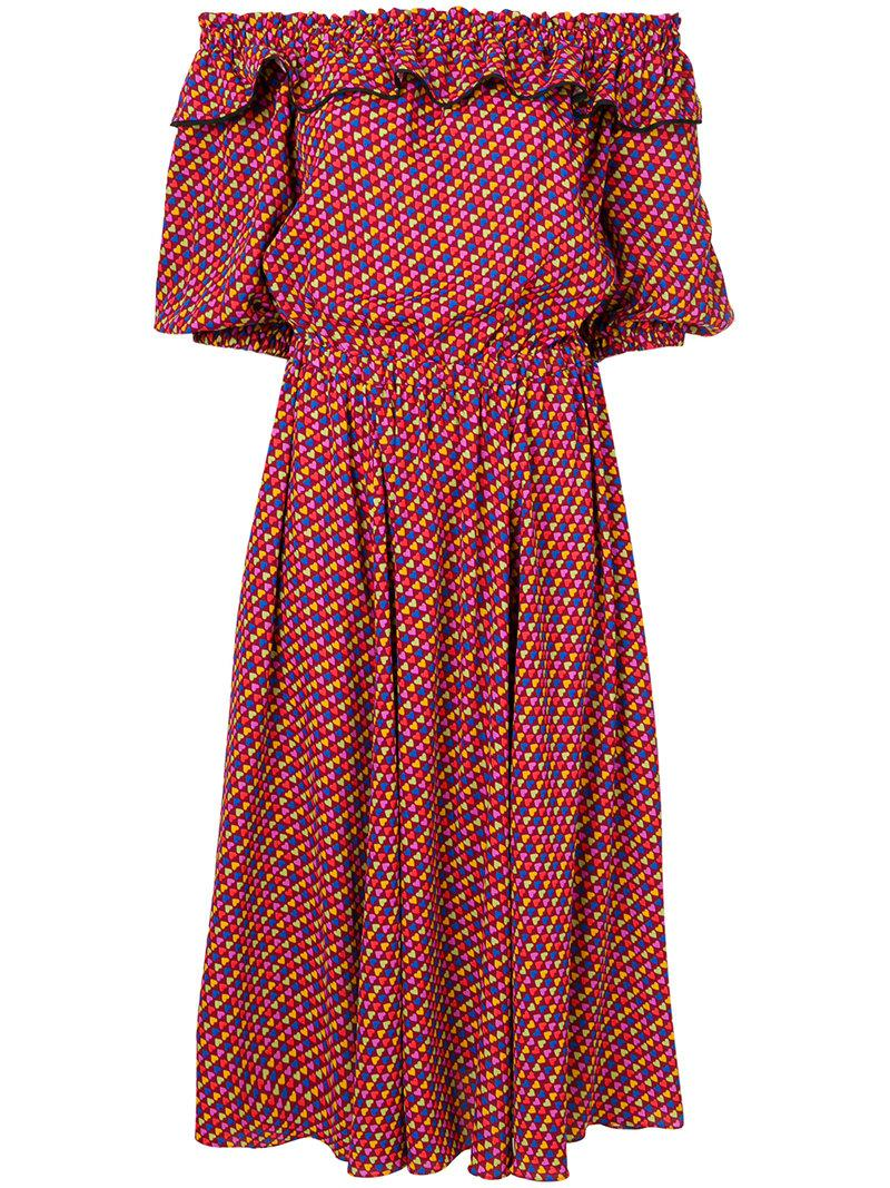 2018 Cheap Sale Philosophy Di Lorenzo Serafini off-the-shoulder heart print dress Buy Cheap Ebay Shop Cheap Online Clearance Big Sale Free Shipping Order lsRTC