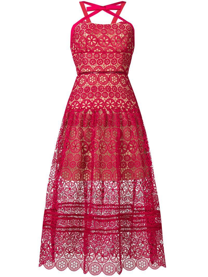 a141e3c235d3b Lyst - Self-Portrait Floral Lace Midi Dress in Pink - Save 62%