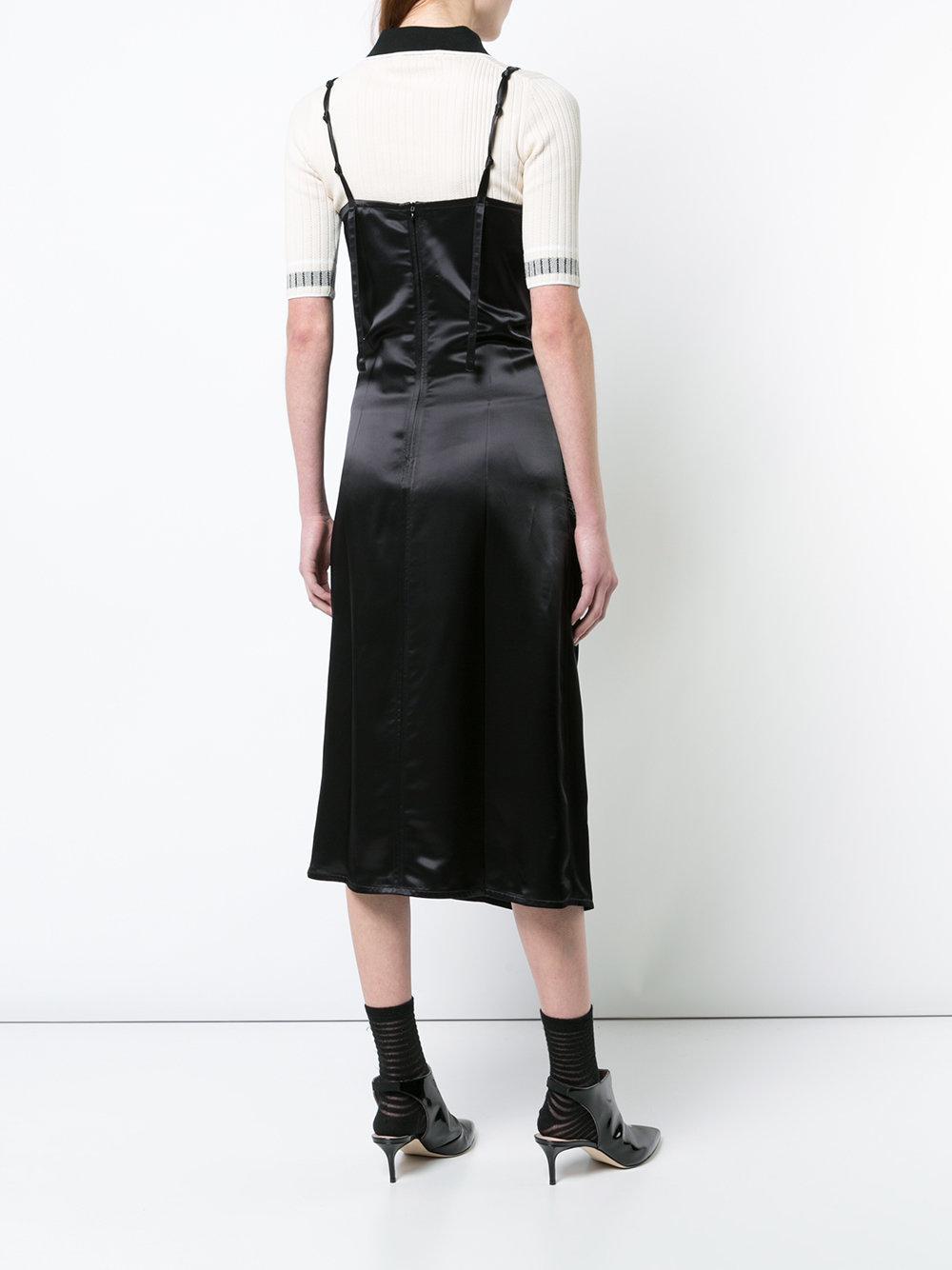 a11682199af49 Helmut Lang - Black Ruched V-neck Dress - Lyst. View fullscreen