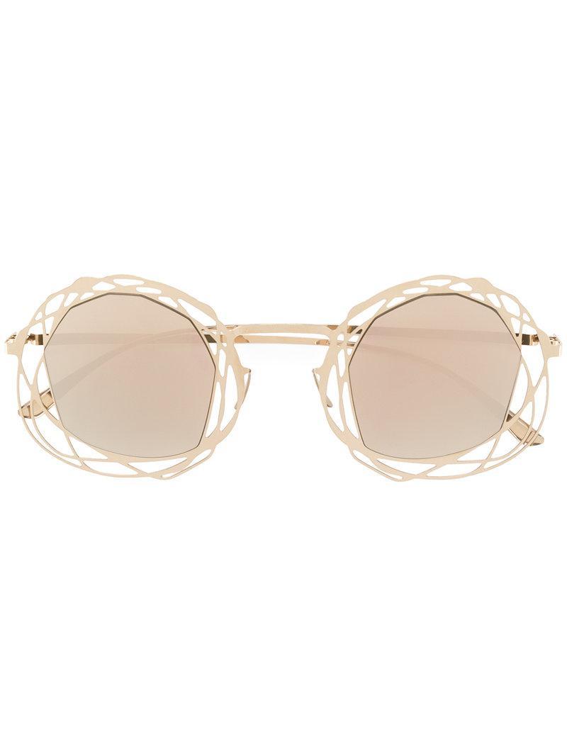 93b9e3e8f1 Mykita Embellished Round-frame Sunglasses in Metallic - Lyst