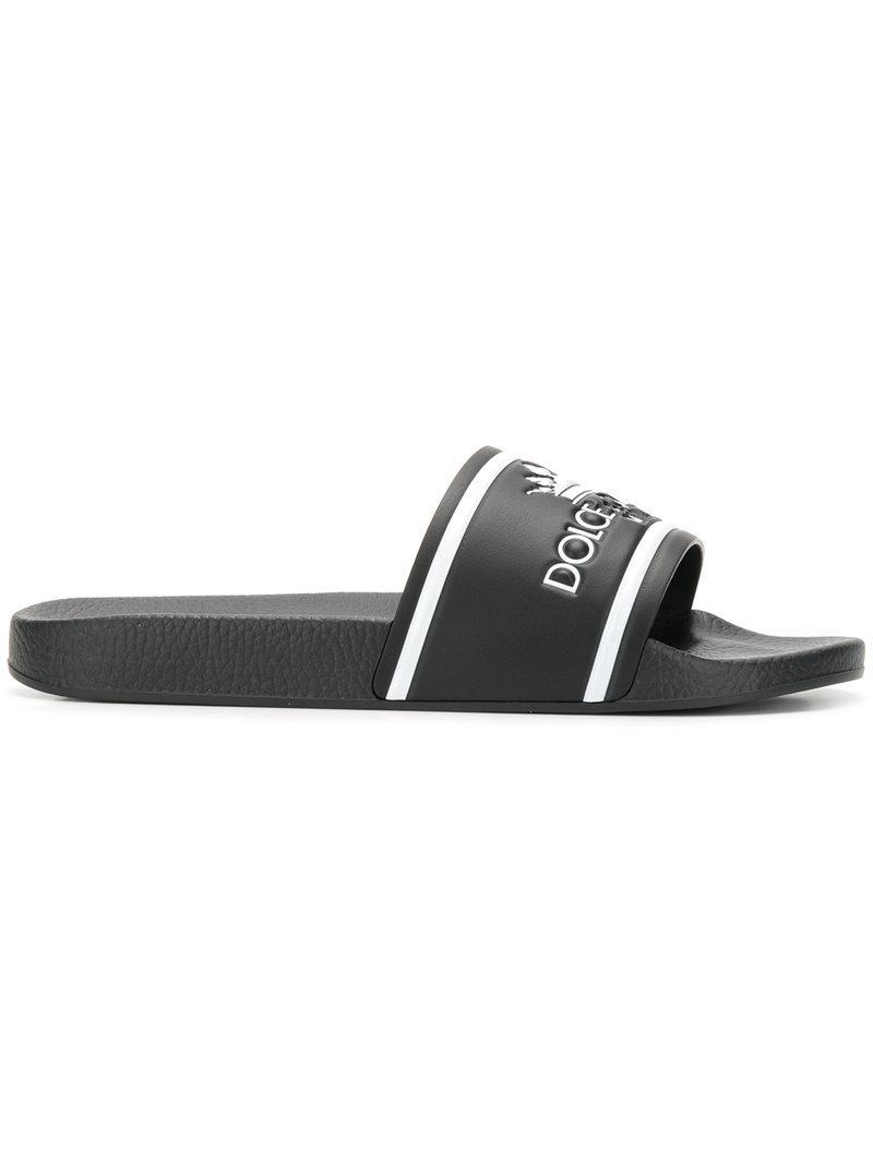 af6897d07501f Dolce   Gabbana Black And White Crown Logo Embossed Slides in Black ...