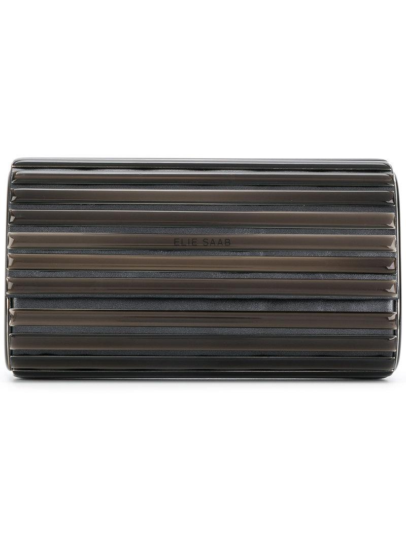 Jeu En France Elie Saab Pochette Metallique Noir Par Carte De Credit