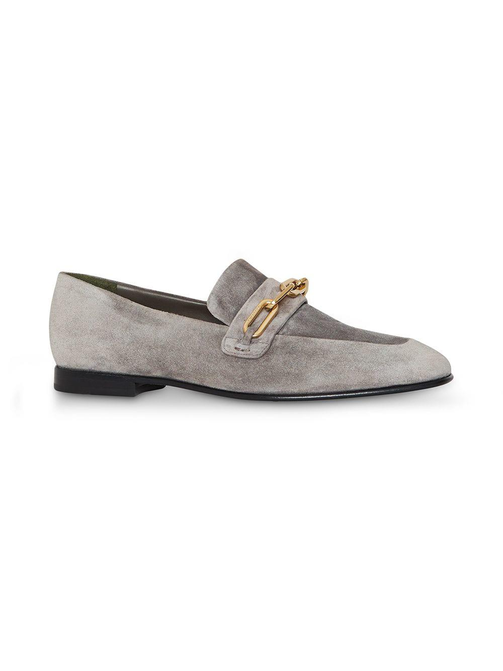 23784584a66 Lyst - Burberry Link Detail Suede Loafers in Gray