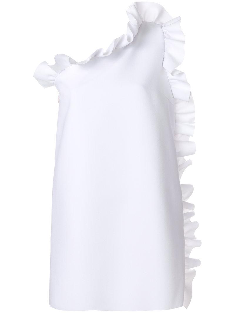 One-shoulder ruffle-trimmed crepe dress Msgm f1meDhBt