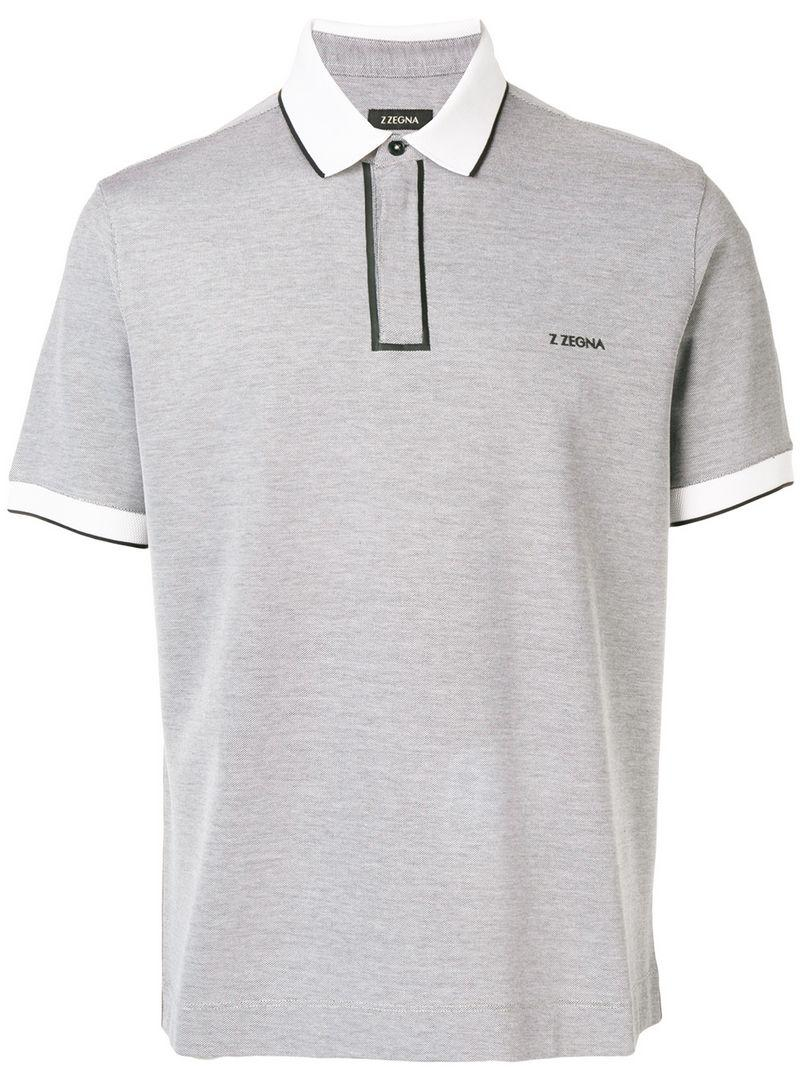 beea222e ... Gray Contrast Piped Polo Shirt for Men - Lyst. View fullscreen