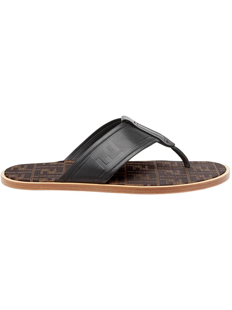 c82ce3630 Fendi Ff Logo Flip-flop Sandals in Black for Men - Lyst