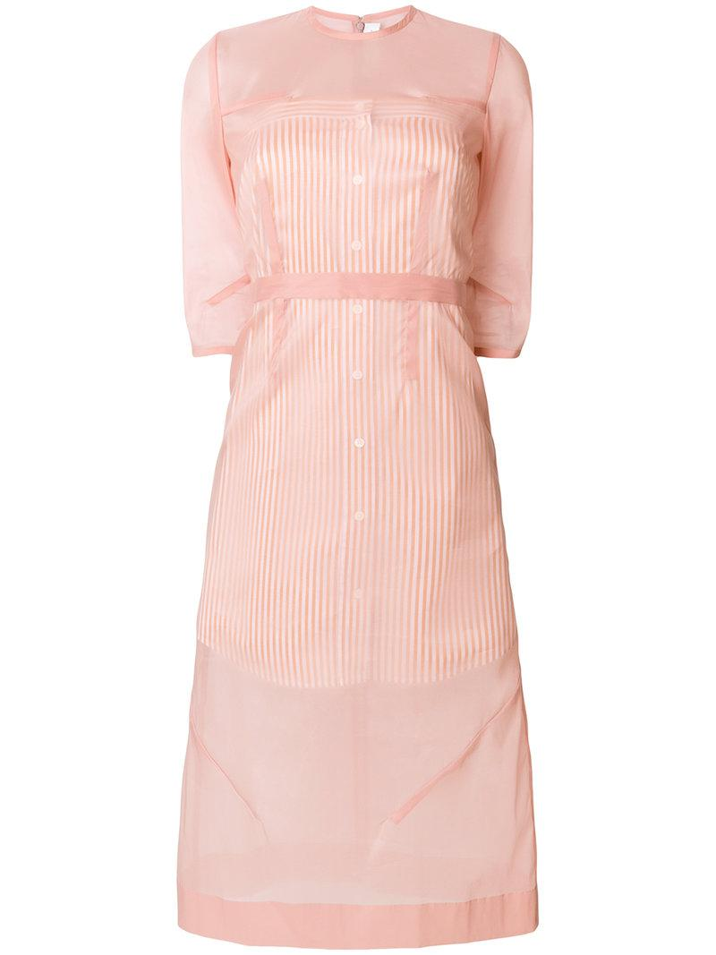 3/4 sleeve layered sheer dress - Pink & Purple Victoria Beckham Footlocker Pictures Online R8Dsd4lE