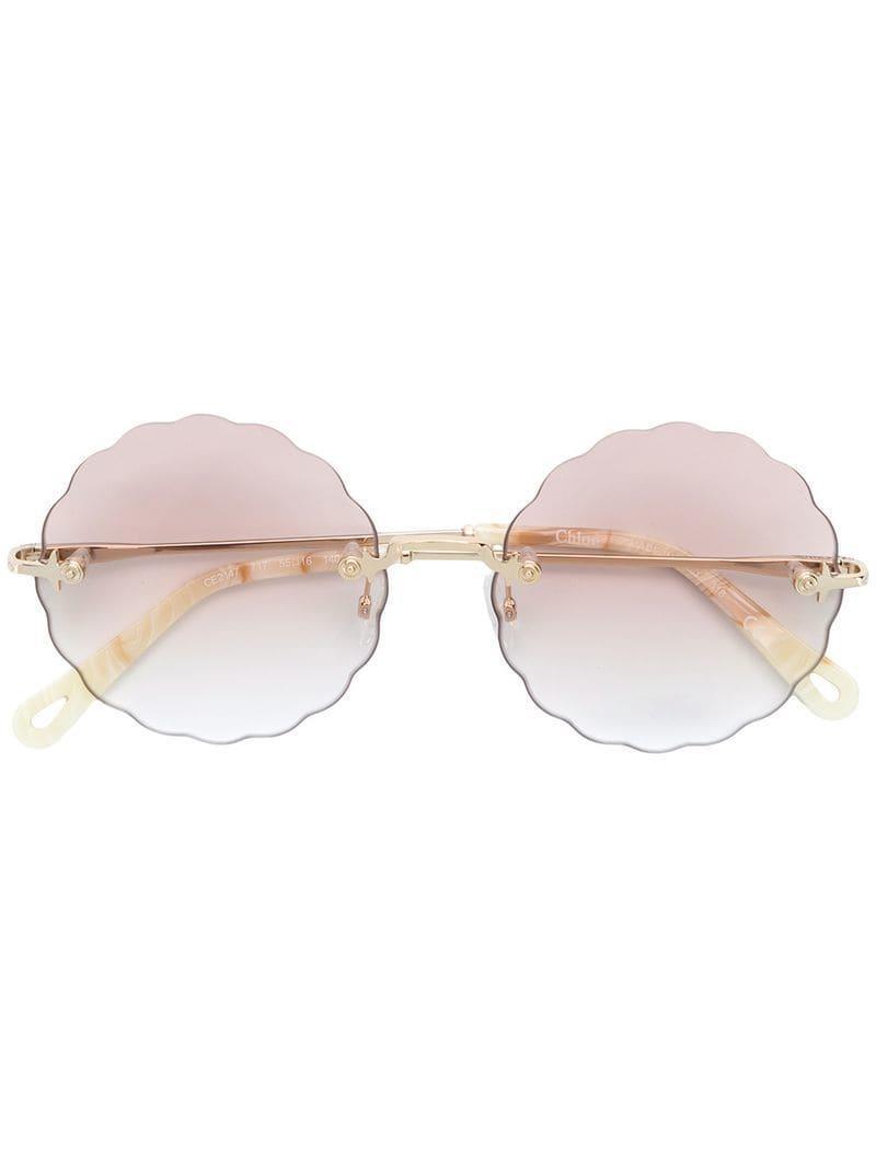 e45ff2067f3 Chloé - Metallic Scallop Edge Round Glasses - Lyst. View fullscreen