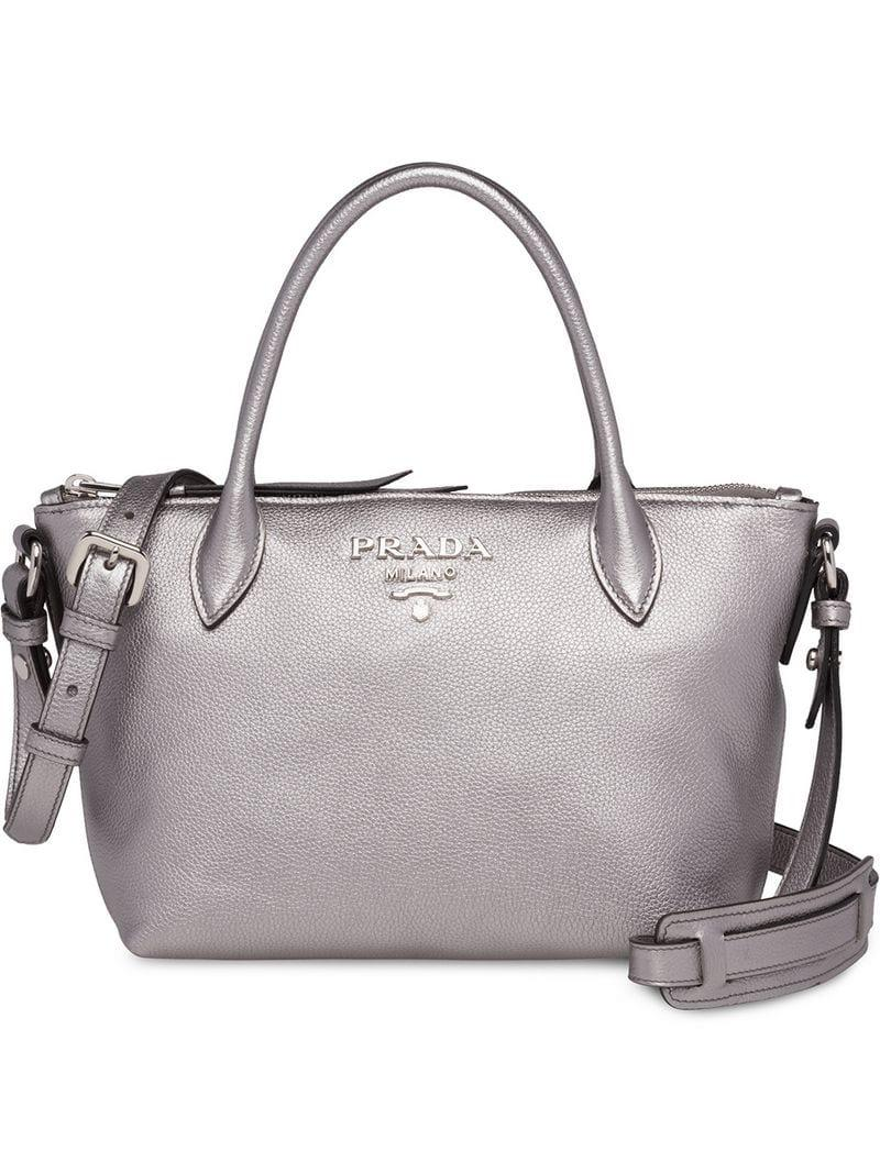 2105b19647 Prada - Metallic Top-zip Tote - Lyst. View fullscreen