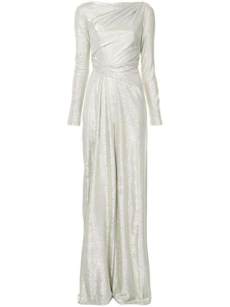99b25e3ead Talbot Runhof Metallic Folded Gown in Metallic - Lyst