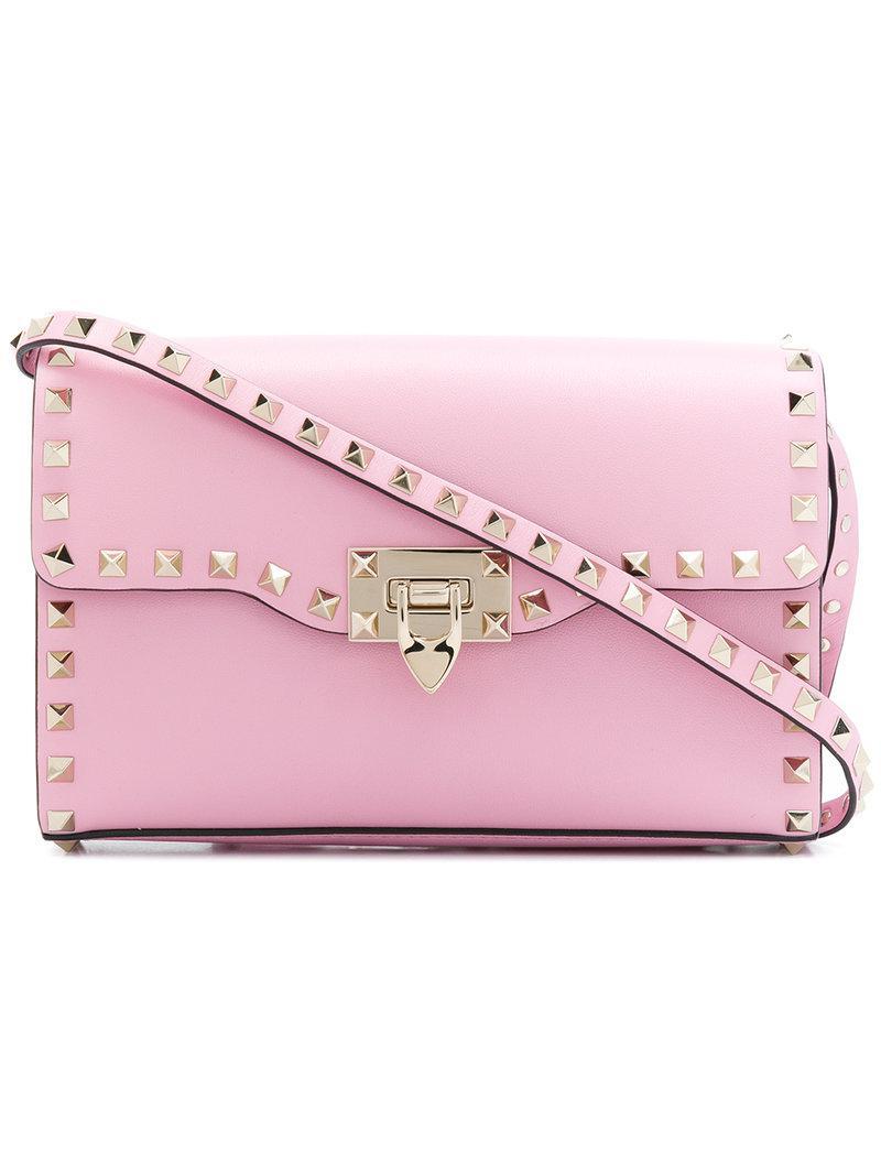 f35d892972c Lyst - Valentino Rockstud Crossbody Bag in Pink