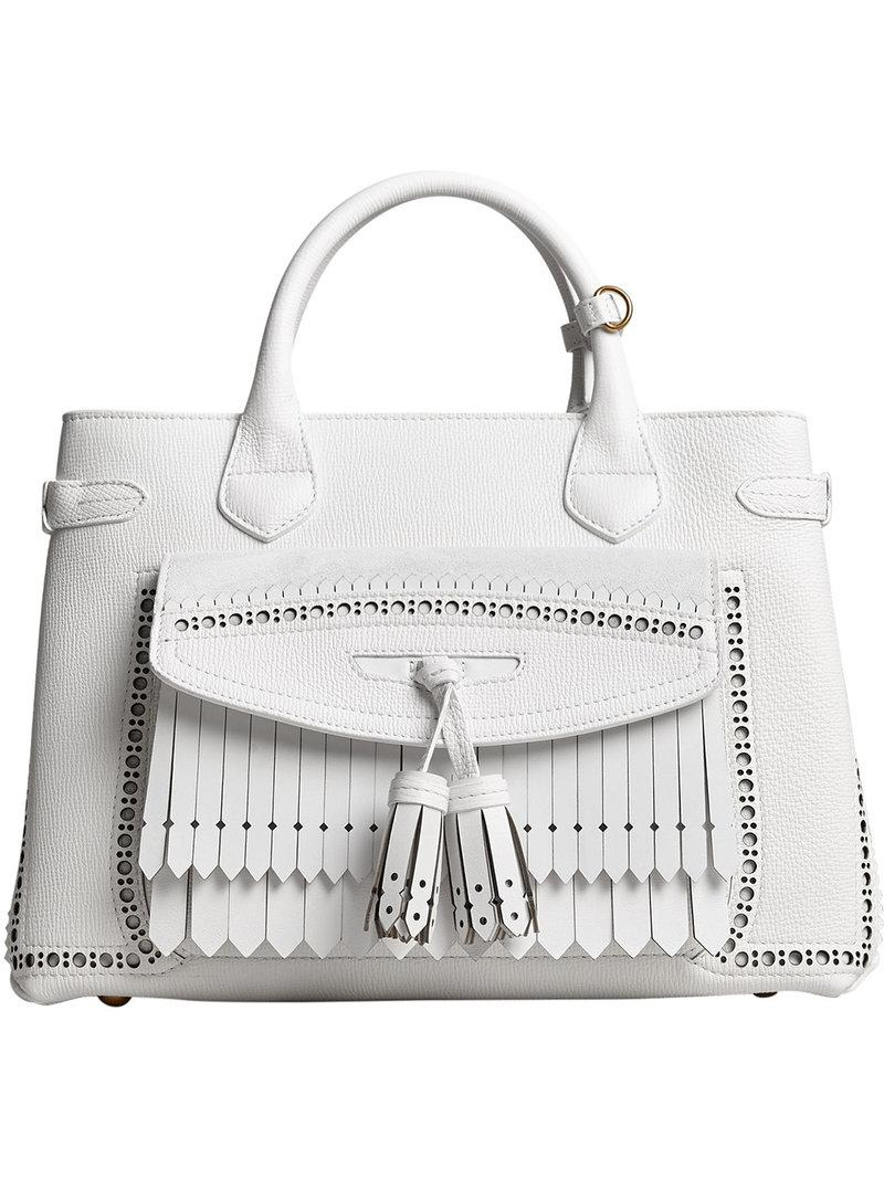 6bad8e4e3627 Burberry Medium Banner With Brogue Detail in White - Lyst