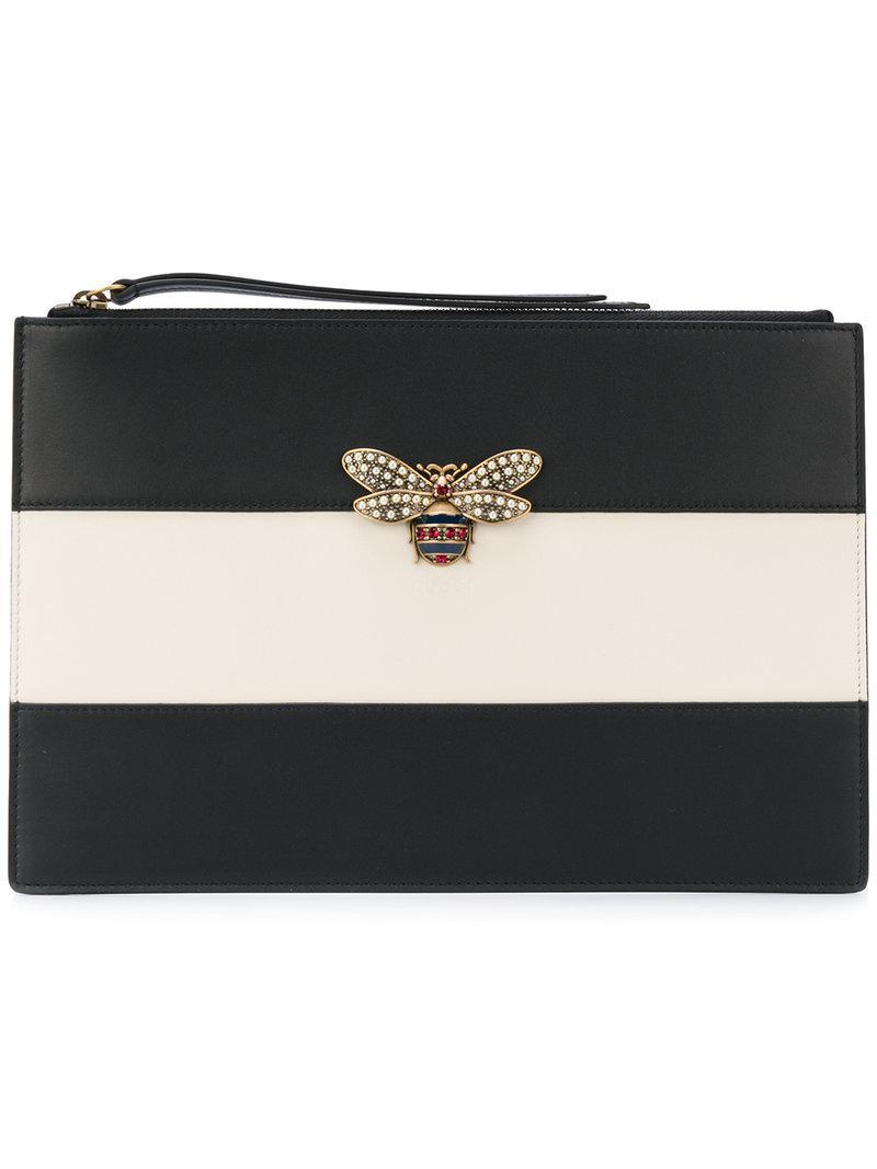 d5df03a3d1a0 Lyst - Gucci Bee Clutch Bag in Black
