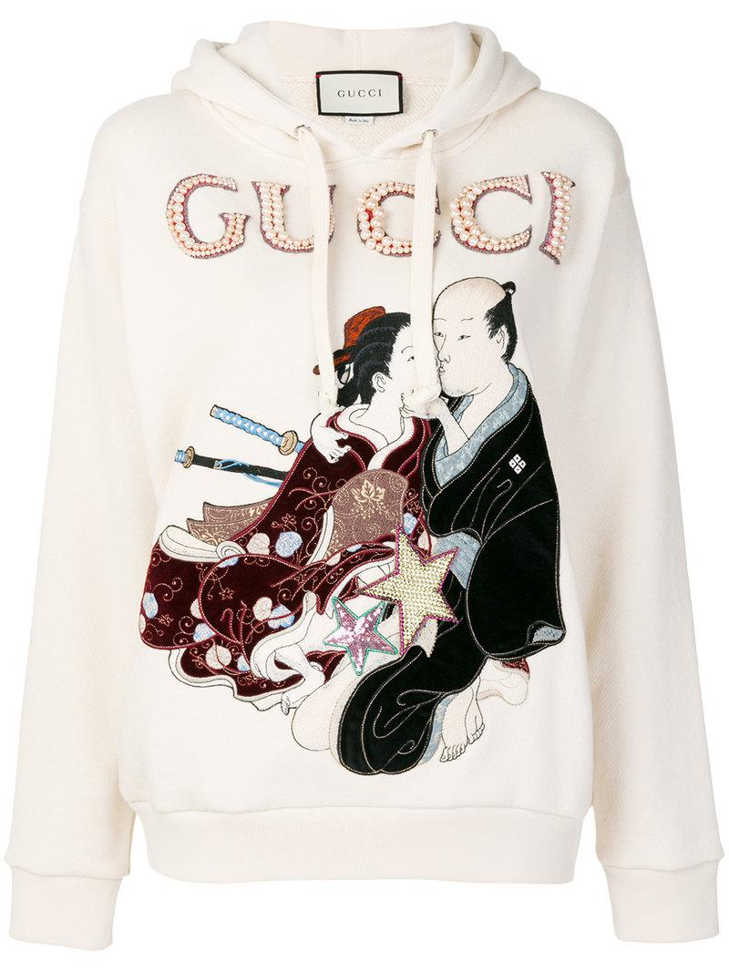 b0160acd6d2 Lyst - Gucci Embroidered Japanese Motif Hoodie