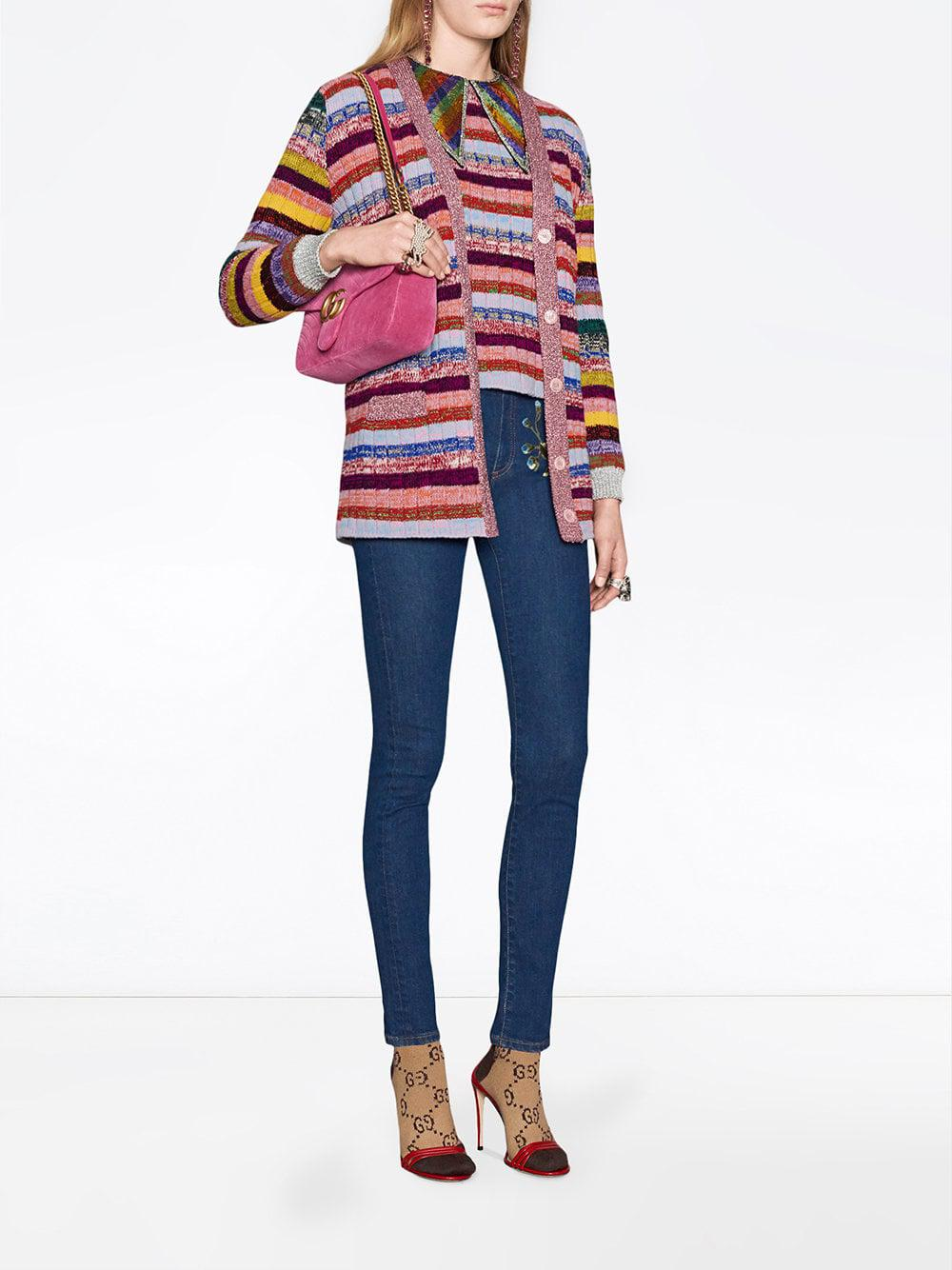 661096cf959 Gucci GG Marmont Chevron Velvet Shoulder Bag in Pink - Save 21% - Lyst