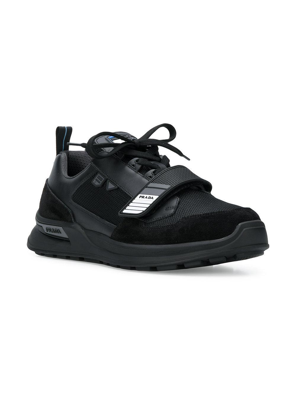 aa56386c5a6 Lyst - Baskets à détail de scratch Prada pour homme en coloris Noir