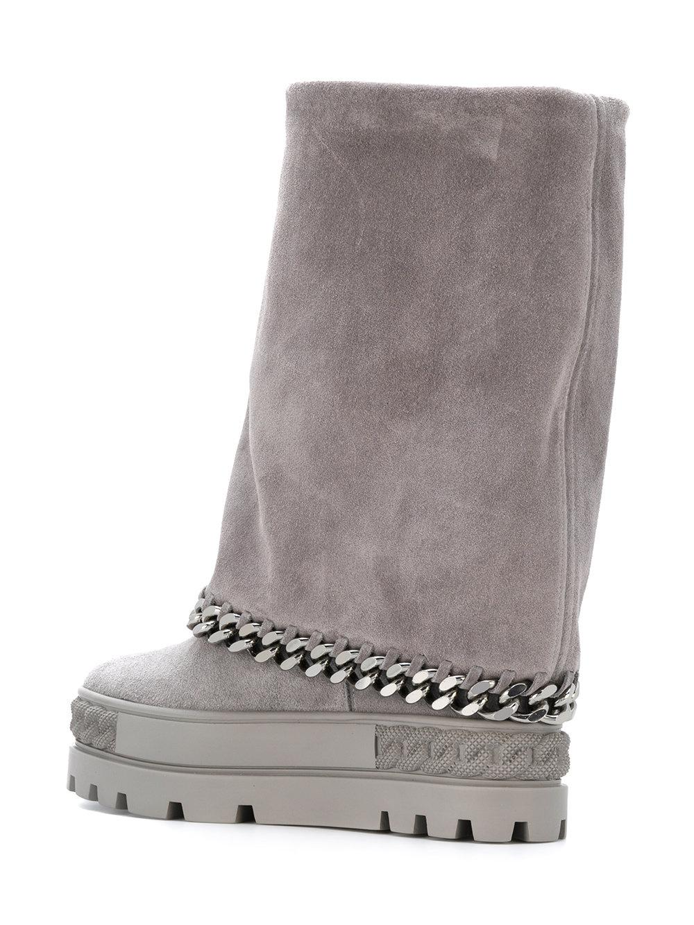 Lyst - Casadei Chain-trimmed Chaucer Boots in Gray 97e3ae05f89