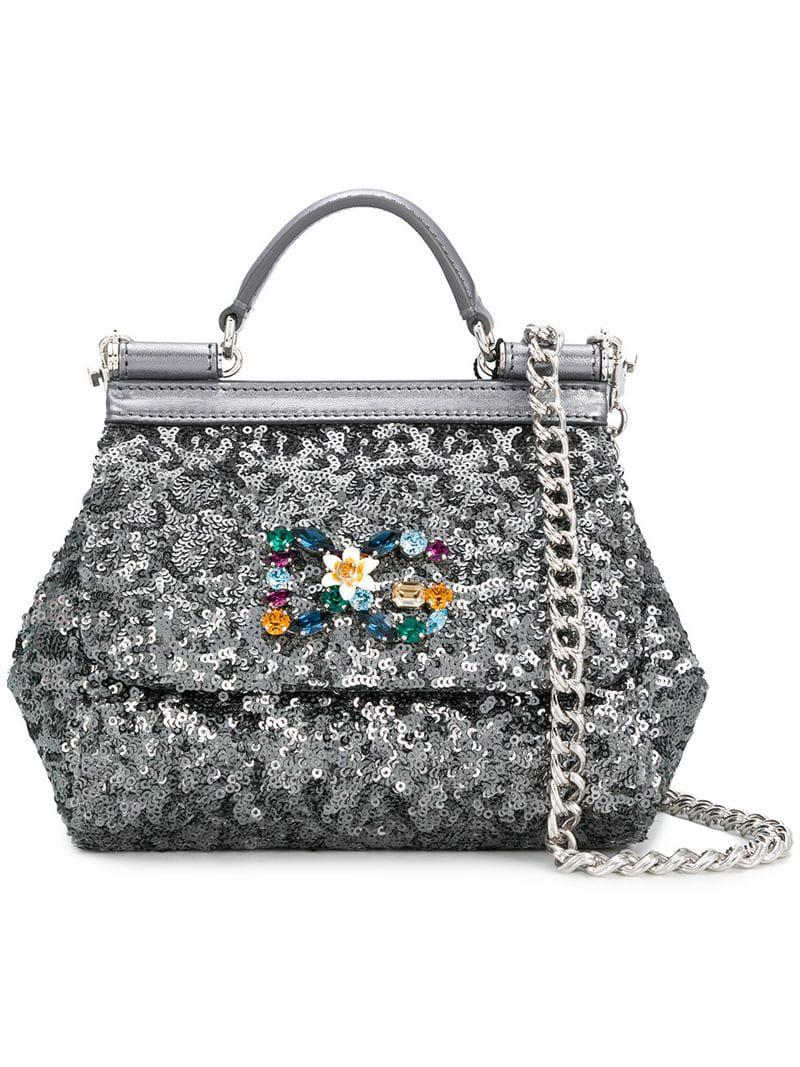 Dolce   Gabbana Sequinned Mini Sicily Bag in Gray - Lyst 2a44c20114