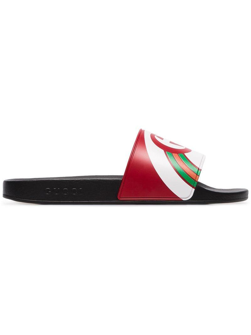 6a42780c3074 Lyst - Gucci Multicoloured Pursuit Logo Slides in Red for Men - Save 10%